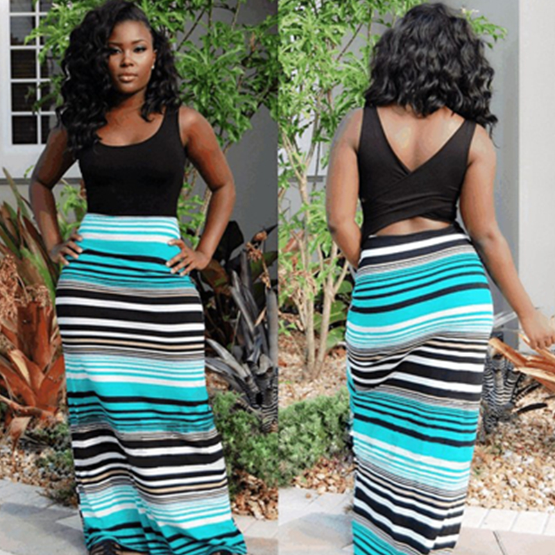 5f4dc317ddcb Sleeveless Simple Top Patchwork Colorful Straps Print Bohemian Dress Women  Sundress Long Casual Boho Summer Maxi Dress L51234-1