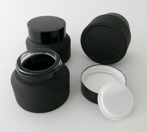Image 3 - 12 x 15g 30g 50g Frost Black Glass Cream Jar With Lids White Seal Insertion Container Cosmetic Packaging Glass Cream Pot