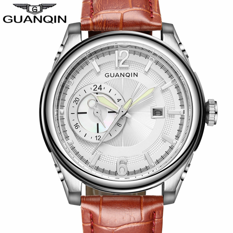 ФОТО GUANQIN Watch Men Sport Big Dial Quartz Watch Luxury Mens Waterproof Leather Strap Wristwatch Reloj Hombre relogio masculino