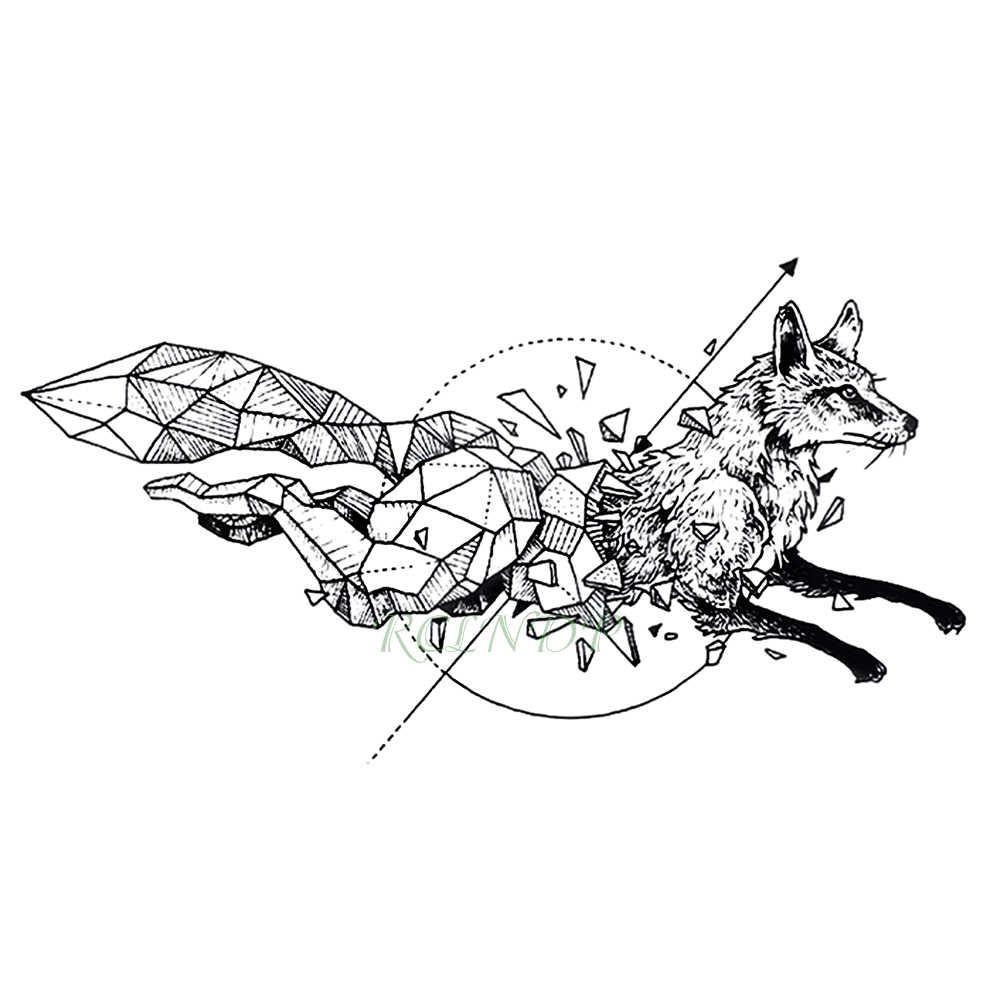 водостойкая временная татуировка лиса волк волки кит сова