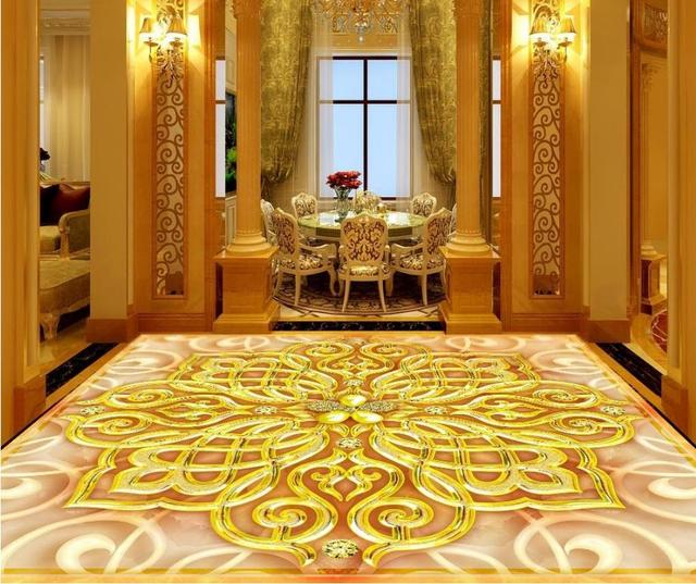 Große 3d Bodenbelag Wasserdichte Tapete Für Küche 3d Boden Tapete  Klassische Tapeten Für Wohnzimmer Vinyl