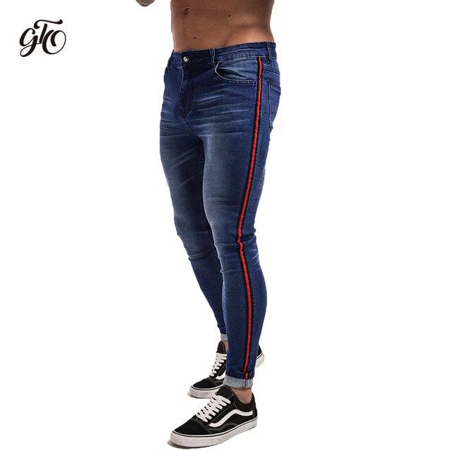 7dffe0f5532 Gingtto узкие джинсы мужские синие ленты классические хип-хоп стрейч джинсы  Hombre Slim Fit бренд