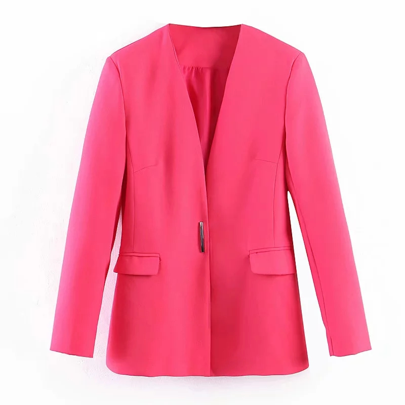 Fashion Women Pink Blazers 2019 Spring-Autumn Chic Ladies Metal Button Slim Suits Coats Female Feminine Blazer Jackets Tops Sets