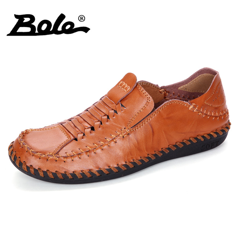 BOLE New Hand-woven Breathable Men Loafers Summer Fashion Convenient Lacing Sets Foot Shoes Men Flats Comfort Shoes Men Footwear