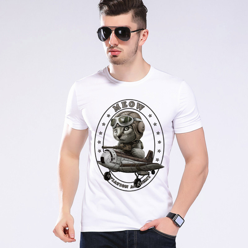 Estate Uomo Cat guidare l'aereo T-shirt da uomo O-Collo Animal Fun Aereo Aircraft T-Shirt Marchio di abbigliamento Moe Cerf H2-12 #