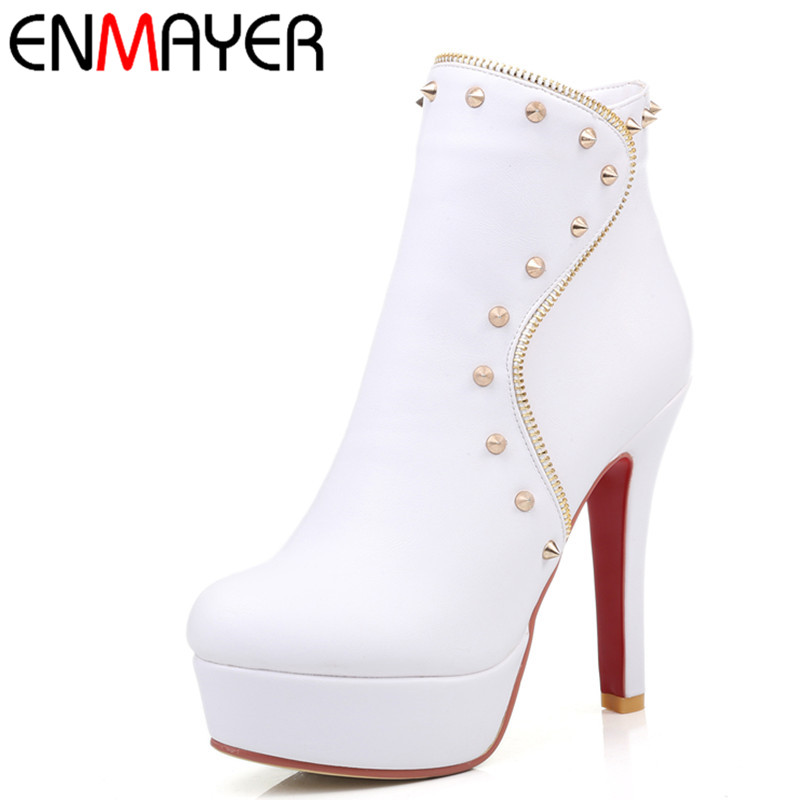 ENMAYER New White Shoes Woman High Heels Zippers Round Toe Large Size 34-43 Platform Shoes Ankle Boots for Women Winter Boots enmayla ankle boots for women low heels autumn and winter boots shoes woman large size 34 43 round toe motorcycle boots