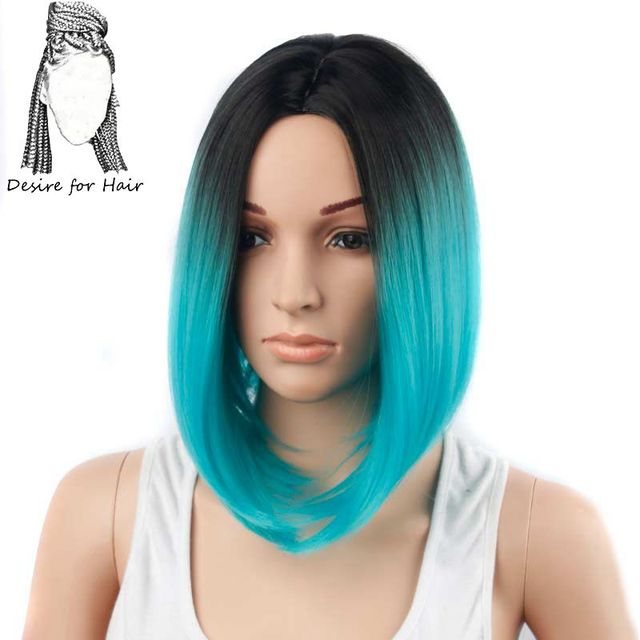 Desire For Hair 1pc 12inch Short Straight Ombre Black Cyan Color Bob Style Heat Resistant Synthetic