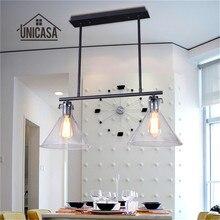 Lámpara colgante de cristal Vintage, iluminación Industrial, sala de estar, Bar, porche, isla de cocina, lámpara LED, grandes lámparas colgantes de techo modernas