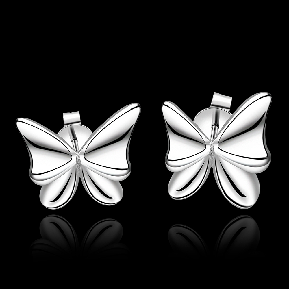 New Butterfly Stud earrings 925 sterling solid silver e540 gift box Free Fashion New Jewelry accessary