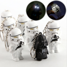 Free Shipping LED Darth Vader star war yoda action figure Storm Troop Anakin Skywalker figure keychains