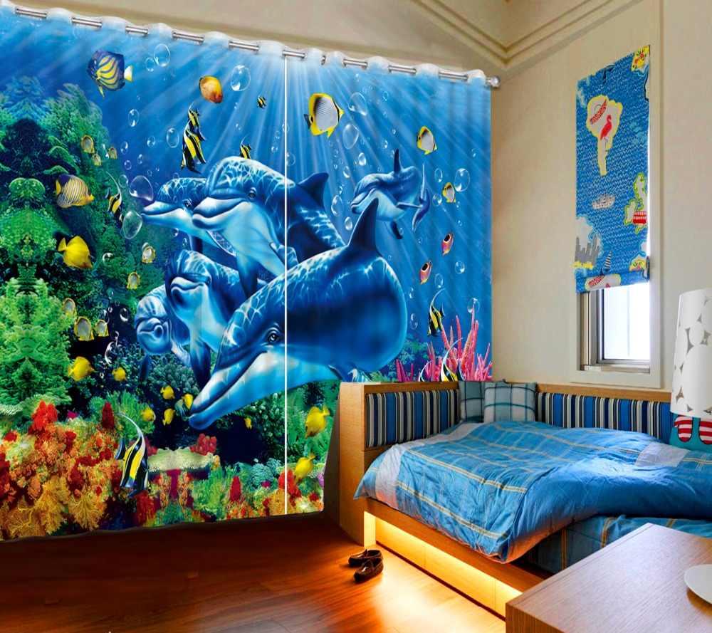 Окно Шторы s Спальня подводный мир фото Шторы s Дельфин детская комната Шторы затемнение оттенок шторы