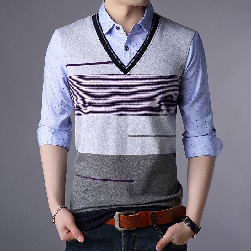 Comfortable and elegant high-end brand mens spring autumn winter casual two pullover  lapel men