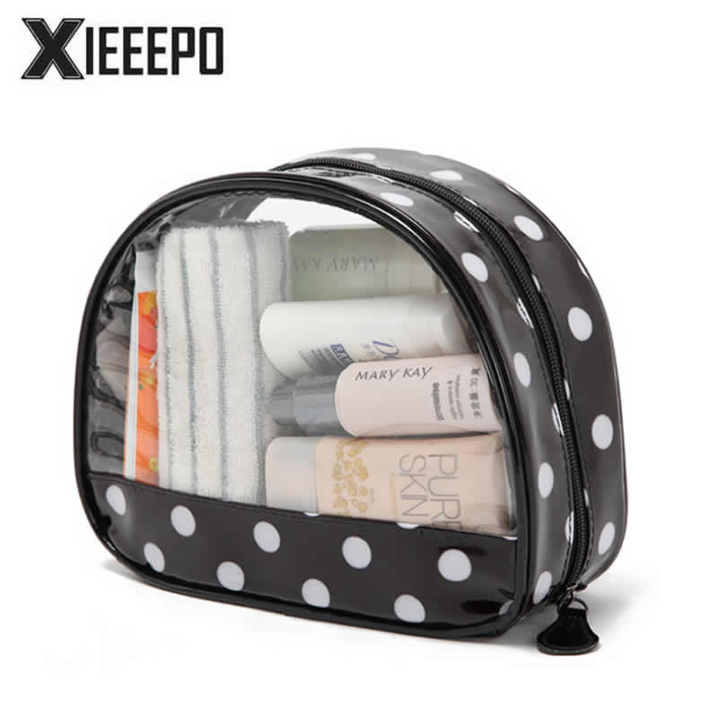 Women Transparent Cosmetic Bag Travel Zipper Trunk Makeup Case Dot Make Up Bags Handbag Organizer Storage Pouch Toiletry Bag new women fashion pu leather cosmetic bag high quality makeup box ladies toiletry bag lovely handbag pouch suitcase storage bag