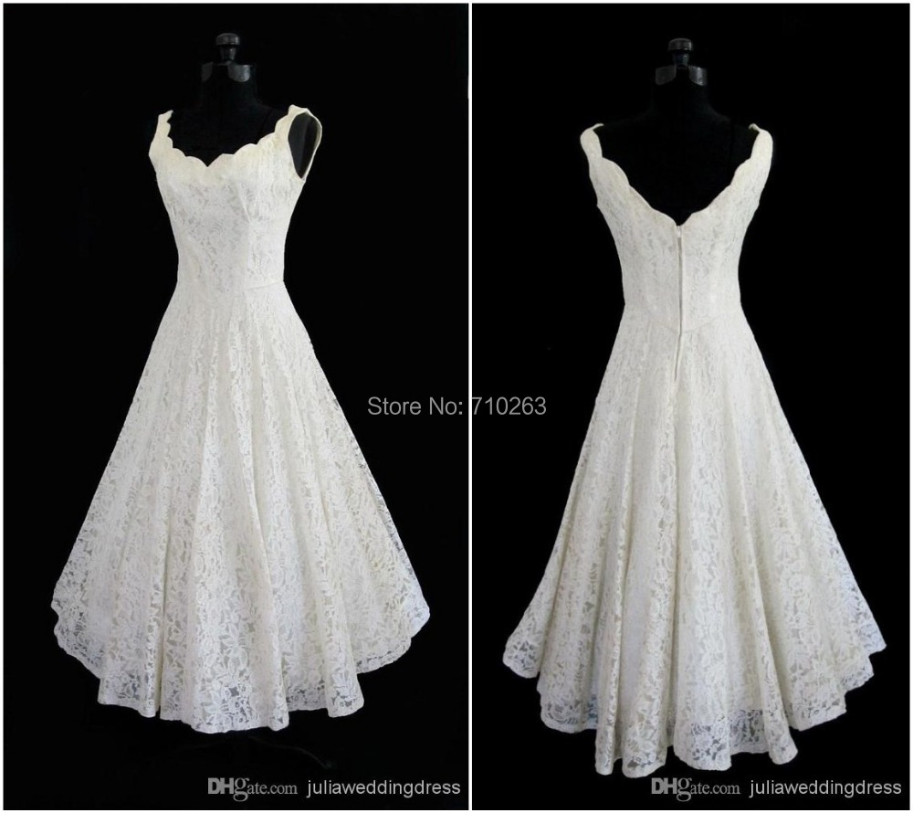 Simple Ankle Length Lace Wedding Dresses White Three: Plus Size 2016 New Simple Scoop Neck A Line Tea Length
