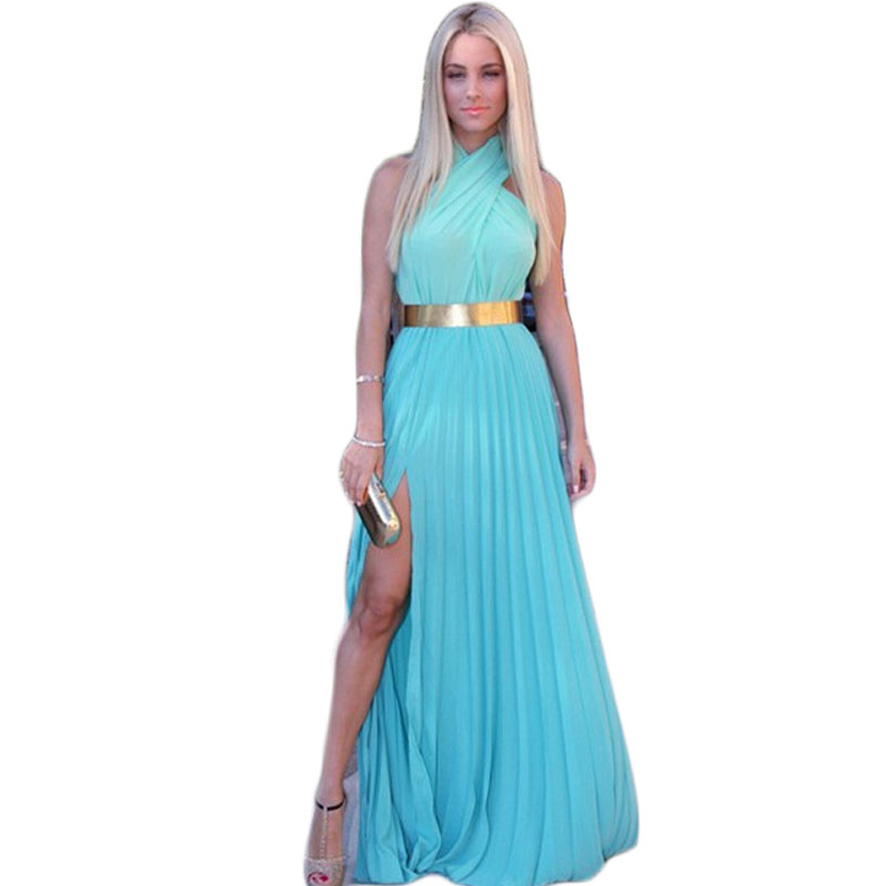 Mulheres Sexy Chiffon Longo Vestido Estilo Verão 2015 Nova Fasion Soild Side Dividir Maxi Vestido Longo De Festa Vestido Com Faixas EE571