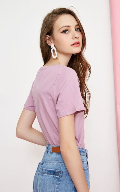 100% Cotton Women's Short Sleeve T-shirt with Decorative Band