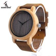 Bobo bird l10 womens casual antiguo reloj de madera de bambú redondo para Los Hombres Correa de Cuero de la Señora Relojes de Lujo Superior de la Marca de Pulsera reloj