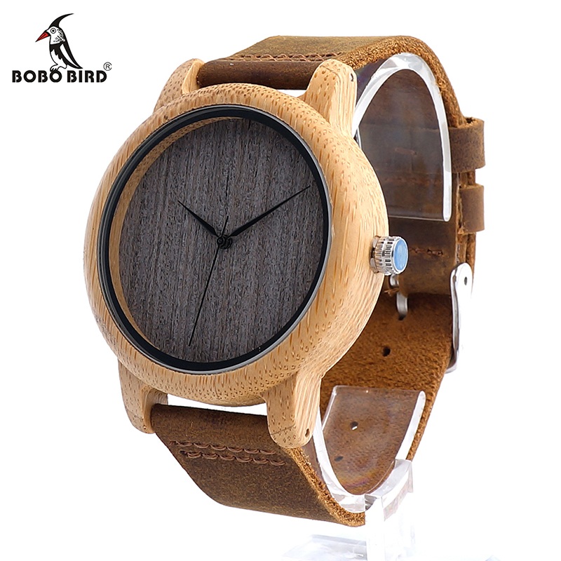 Prix pour Bobo bird l10 femmes casual antique ronde bambou en bois montre pour Hommes Bracelet En Cuir Lady Montres Top Marque De Luxe Poignet montre