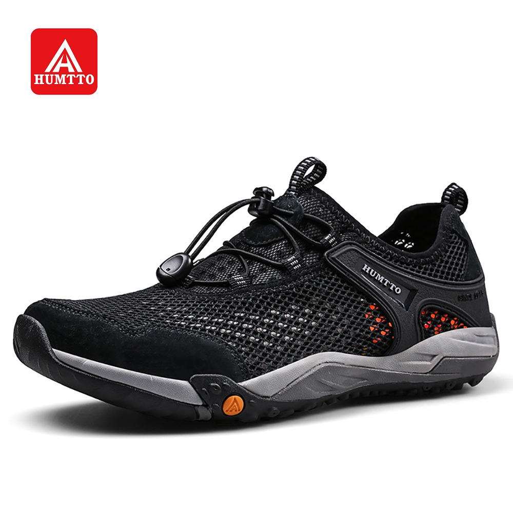 HUMTTO Men Hiking Shoes Summer Breathable Mesh Lightweight Outdoor Sports Fishing Sneakers Black Grey