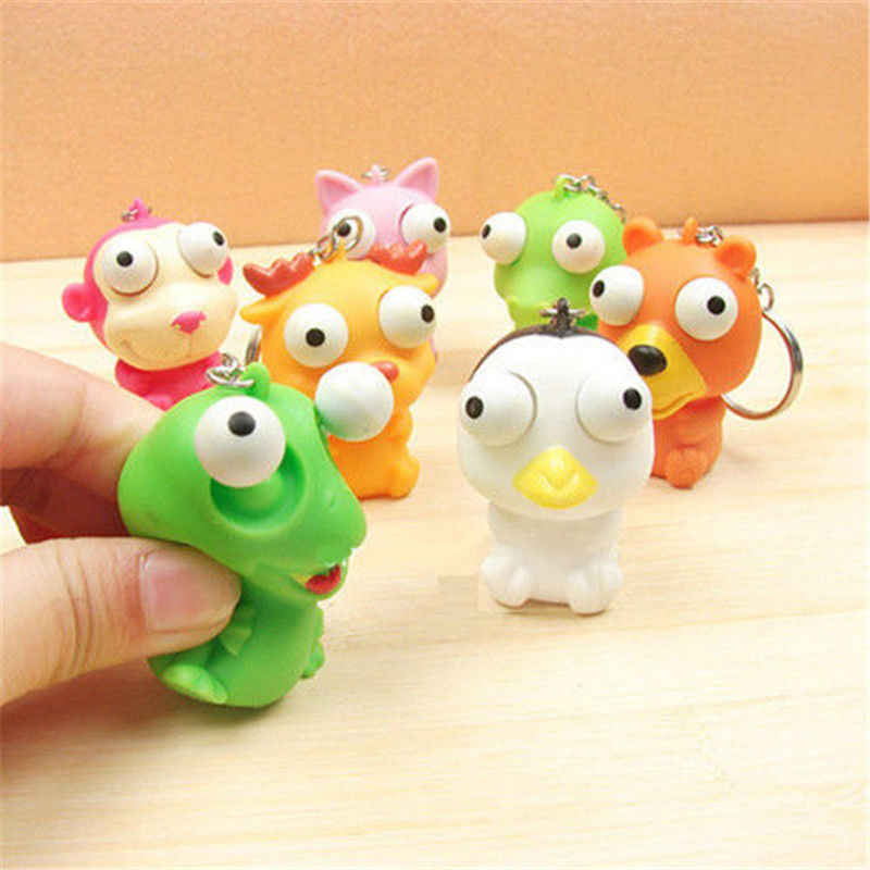 2PCS Lovely Animal Squeeze Toy Tumbled eye Decompression doll Keyring Key Chain Ring