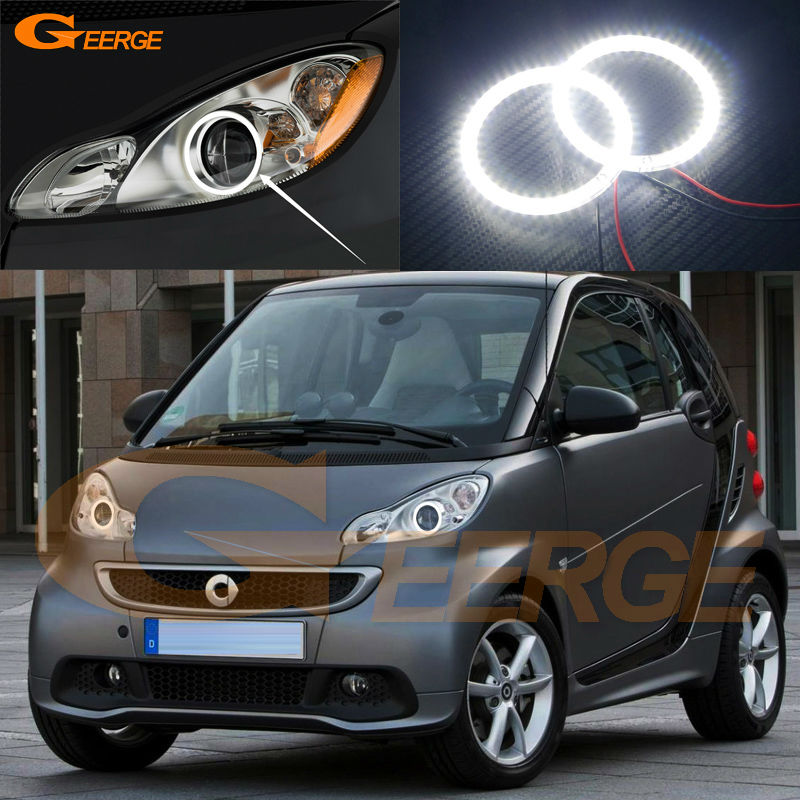 For Smart Fortwo W451 2007 2008 2009 2010 2011 2012 2013 2014 Excellent Ultra bright illumination smd led Angel Eyes kit front lamps day light led for benz smart fortwo 2008 to 2011