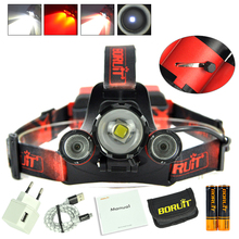 Boruit 8000LM XM-L2+2X XPE Red LED Headlamp USB 4Modes Headlight+2×18650 PCB Battery + Charger