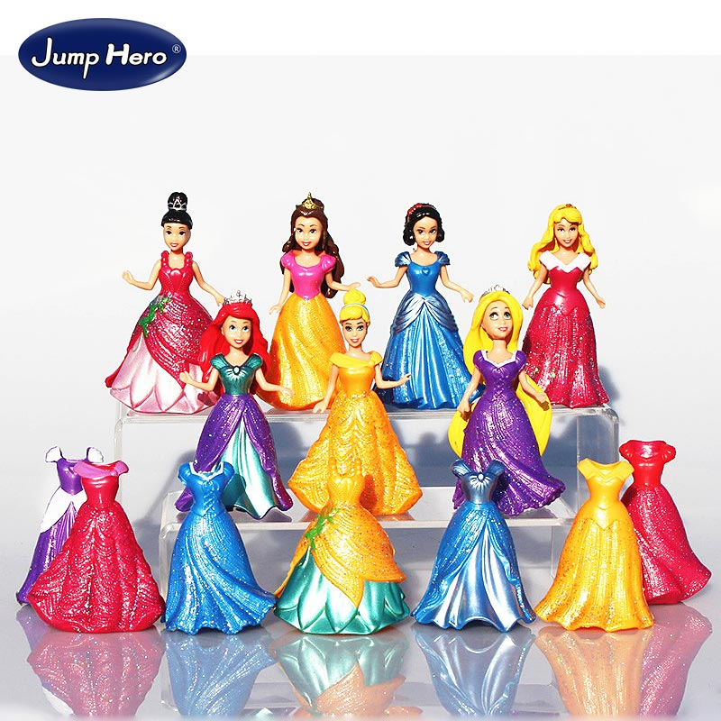14pcs/set Detachable Dolls 8cm Snow White Princess Cinderella Aurora Belle Model Girls toys Kids ornaments gift dress up dolls#E 6 pcs set princess snow white cinderella action figures toys cute q version 9cm pvc statue anime collectible dolls kids gift