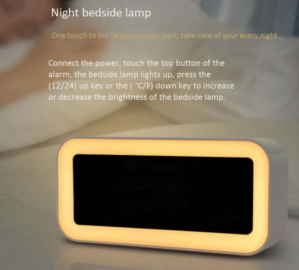 Image 5 - Hot 12V Dual Usb Charging Smart Digital Alarm Clock With Dimmable Led Light Music Snooze Function Alarm Clock-in Alarm Clocks from Home & Garden