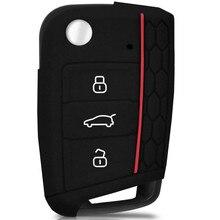 Чехол для VW GOLF 7 MK7 SKODA SEAT 2014 2015 2016, 3 кнопки, откидной ключ, силиконовый чехол FOB HULL OCTAVIA COMBI LEON IBIZA CUPTRA, чехол