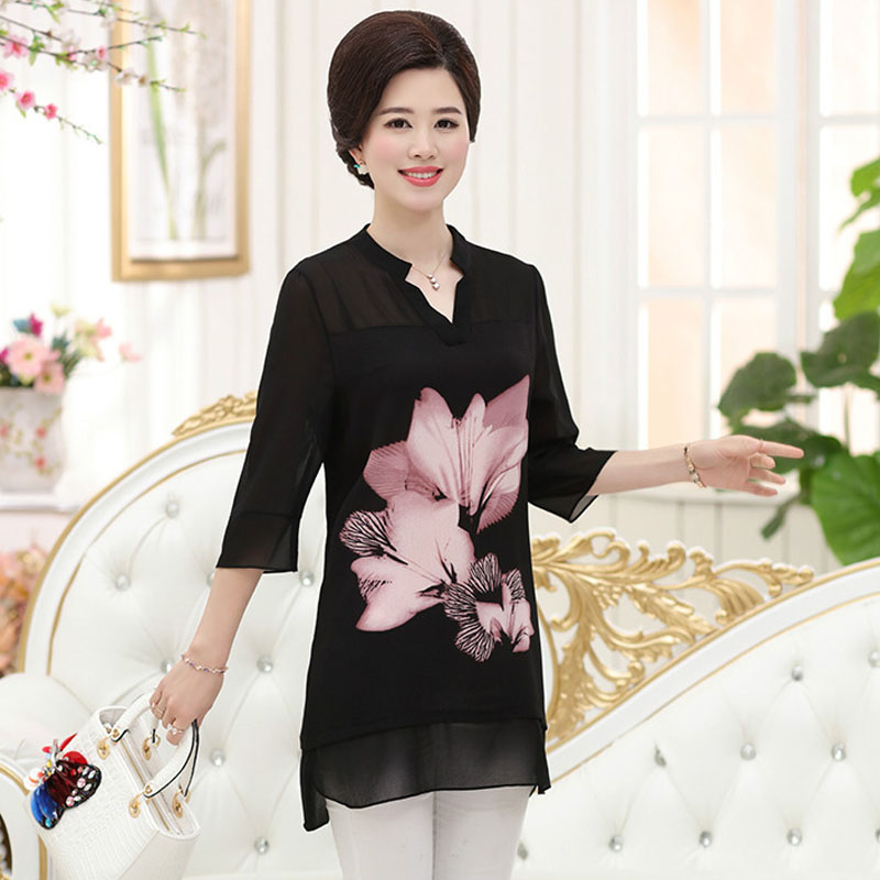 Women Chiffon Blouse Casual Floral Print V Neck Tops 3/4 Sleeve Elegant Shirts Plus Size XL-5XL