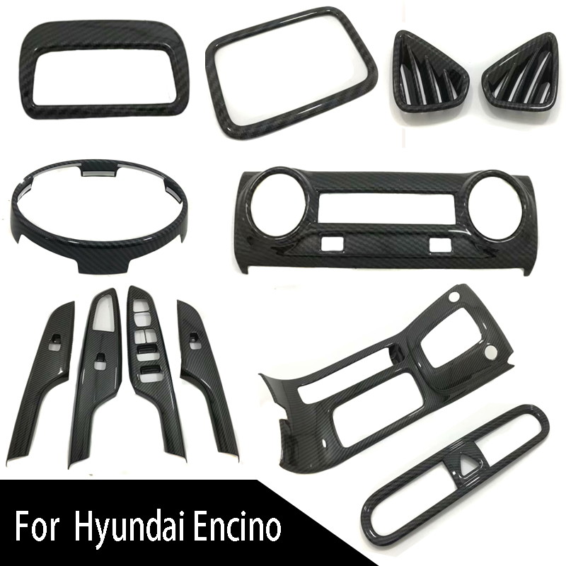 Tomefon For Hyundai Kona Encino 2018 2019 Abs Chrome Front: Carbon Fiber ABS Chrome Auto Car Styling Inner Accessories