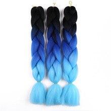 Eunice Джамбо косички Омбрэ шиньон синие высокотемпературные синтетические африканские плетеные волосы крючком 100 г
