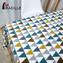 Miracille Home Decorative Dinning Table Cloth Colorful Geometry Triangle Pattern Cotton Linen Kitchen Dinner Room Table Covers