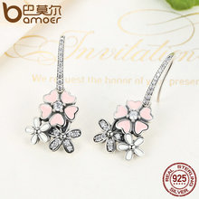 100% 925 Sterling Silver Pink Flower Poetic Daisy Cherry Blossom Bridal Jewelry Sets