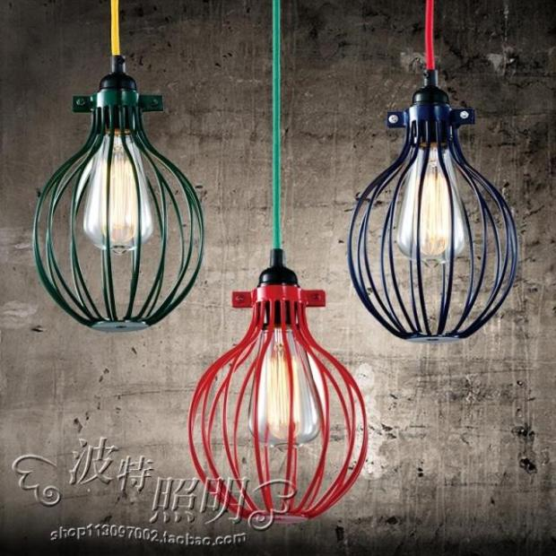 ФОТО Retro Contracted Sitting Room Bedroom Lamp Wrought Iron Cafe Restaurant Industry Droplight
