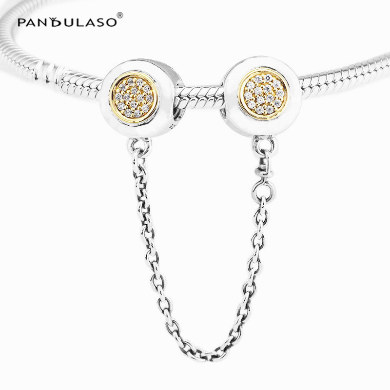 Pandulaso Signature Safety Chains Crystal Stopper Fit Women DIY Bracelets Silver 925 Jewelry Real Golden Beads for DIY Making