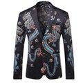 Luxo 2017 China Dragão Impressão Blazers Homens Moda Grife Casuais Blazer Masculino ML-XL-2XL-3XL Frete grátis