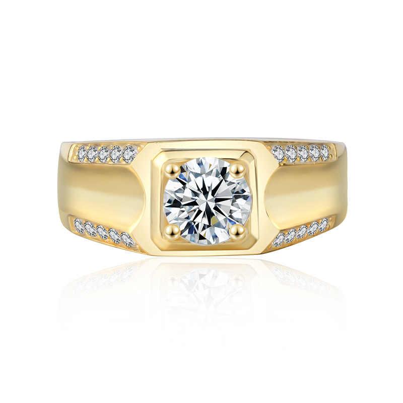 เครื่องประดับทำ 100% แท้ Silver & gold แหวน Sona แหวนหมั้นเพชรแหวนผู้ชายของขวัญขนาด 7-13