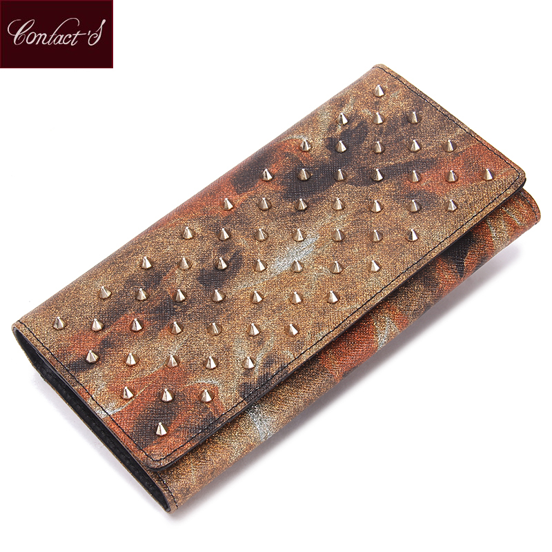 New Arrived Women Clutch Wallet With Gold Rivet Genuine Leather Fashion Party Ladies Handbag Phone Purse Long Trifold Money Bag