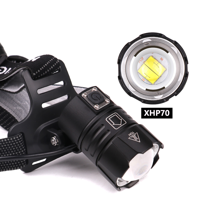 Image 2 - KZ20 Dropshiping 100000LM LED Headlamp XHP70.2 Power Headlight 3 Modes Telescopic Rechargeable Zoom Torch Waterproof Hunting-in Headlamps from Lights & Lighting