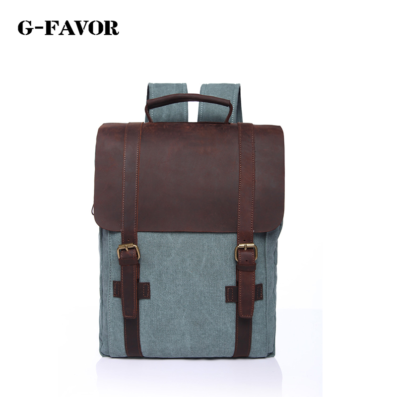 ФОТО G-FAVOR Canvas Patchwork male Backpack Cover Vintage bags of Women Casual Travel Rucksack Preppy Style Daypack School Backpacks