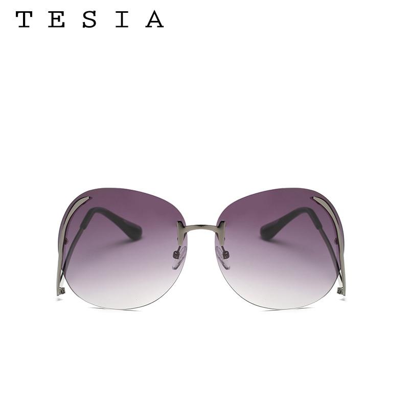 2017 TESIA Kacamata Fashion Wanita Oversize Sunglasses Mental Bingkai - Aksesori pakaian - Foto 5