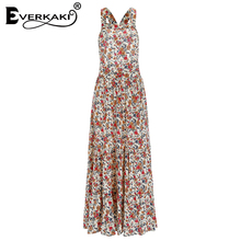 Everkaki Women Boho Floral Print Backless Long Dress Vestidos High Waist Spaghetti Strap Bohemian Dresses Female 2018 Summer New
