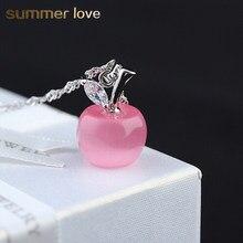 6f497aa75032 Joyería de moda hermosa rosa ópalo blanco Apple collares para las mujeres  Cadena de Color de plata colgantes collar cuello Colli.