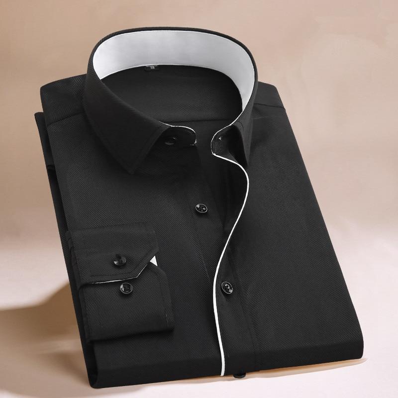 unisplendor Men Dress Shirts 2020 New Man Fashion Long Sleeve Slim Fit High Quality Solid Casual Business Man's Shirt 4XL YN630 5