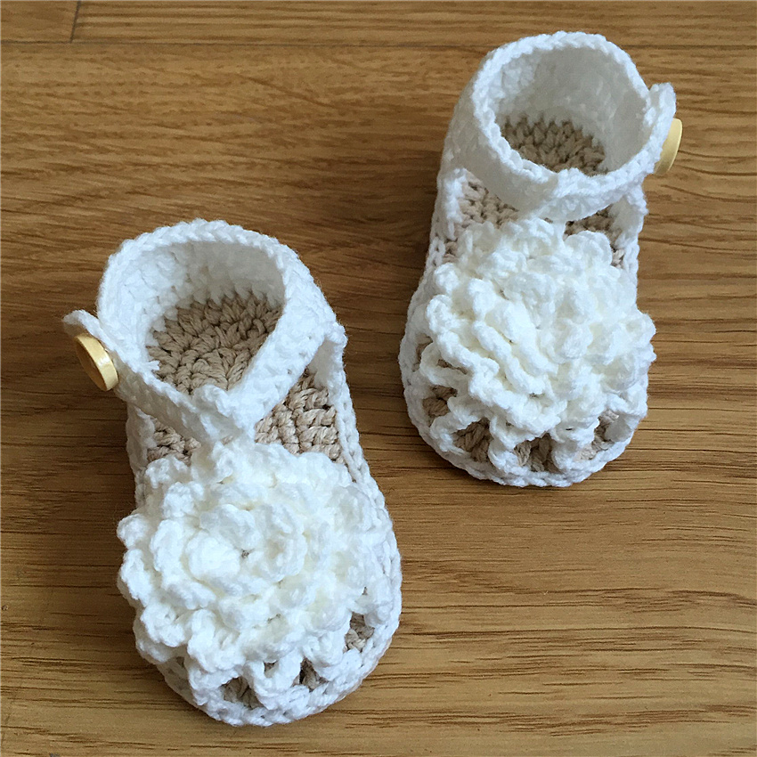 QYFLYXUE Hand-made Shoes Free Shipping Crochet Baby White Flip Flops, Custom Cotton Baby Shoes. Sizes 0-12 Months Han