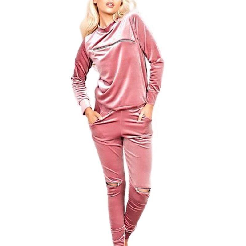 finest selection 27409 e545f Casual Samt Anzug Herbst Winter Reißverschluss Robe Sexy ...
