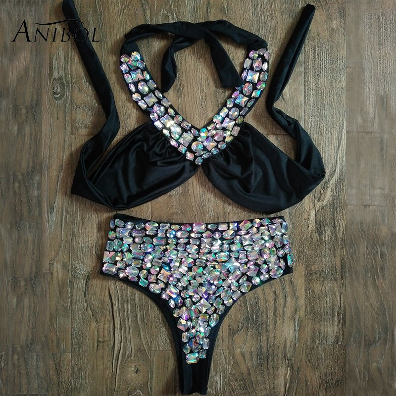 Anibol 2018 Hand Sewing Luxury Rhinestone Bikini High Waisted Crystal Diamond Women Swimwear Bikini Set Sexy Halter Swimwear sexy cami purple high waisted women s bikini set