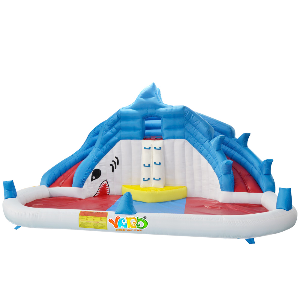 Inflatable Water Slide Shark Water Park Swimming Pool Kids Funny Water Games With Blower Courtyard Grassland Inflatable Games in Inflatable Bouncers from Toys Hobbies