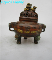 Asian Antique Old Copper Gilt Style Hand Carved 12 Animals Censer Decoration Chinese Qing Ming Dynasty